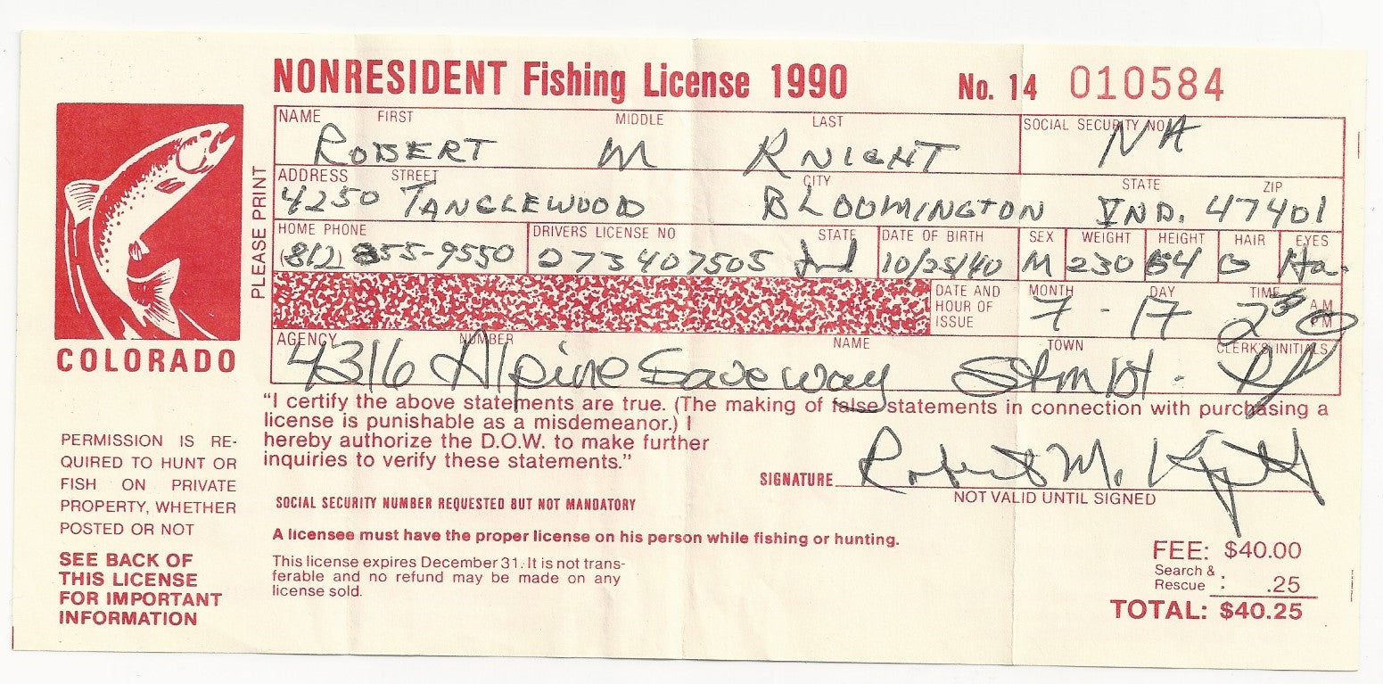 1990 Wyoming Bob Knight Personal Signed Fishing License - Vintage Indy Sports
