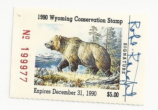1990 Bob Knight Signed Wyoming Conservation Stamp