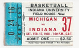 1968 Michigan vs Indiana Basketball Ticket Stub - Vintage Indy Sports