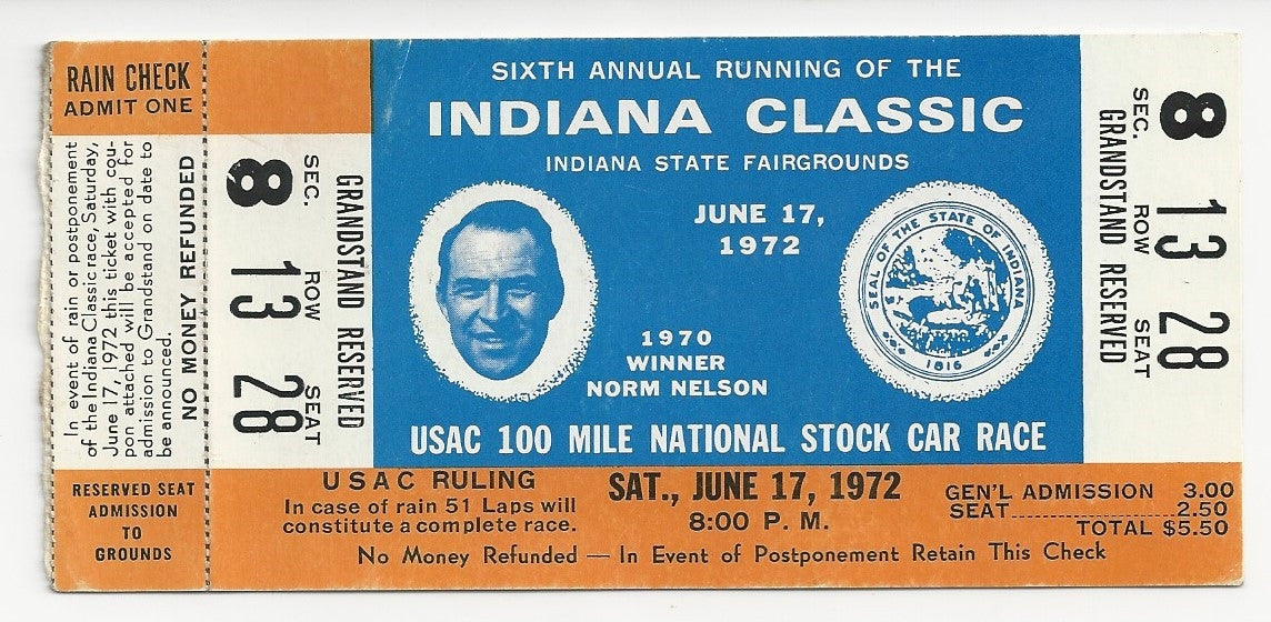 1972 Indiana Classic USAC 100 Mile Stock Car Race Ticket Stub - Vintage Indy Sports