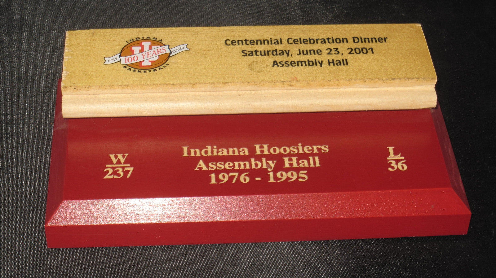 1976-95 Indiana University Basketball Floor Piece 2001 Centennial Celebration Dinner - Vintage Indy Sports