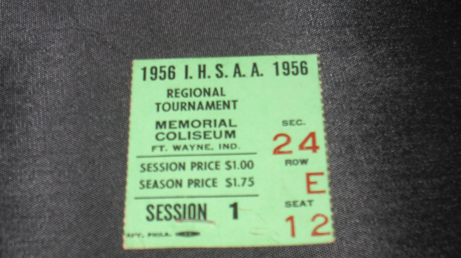 1956 Ft. Wayne, Indiana High School Basketball Regional Ticket Stub - Vintage Indy Sports
