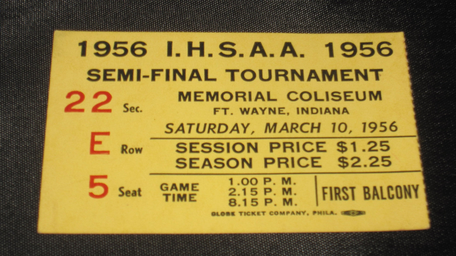 1956 Ft. Wayne Indiana High School Basketball Semi State Ticket Stub - Vintage Indy Sports