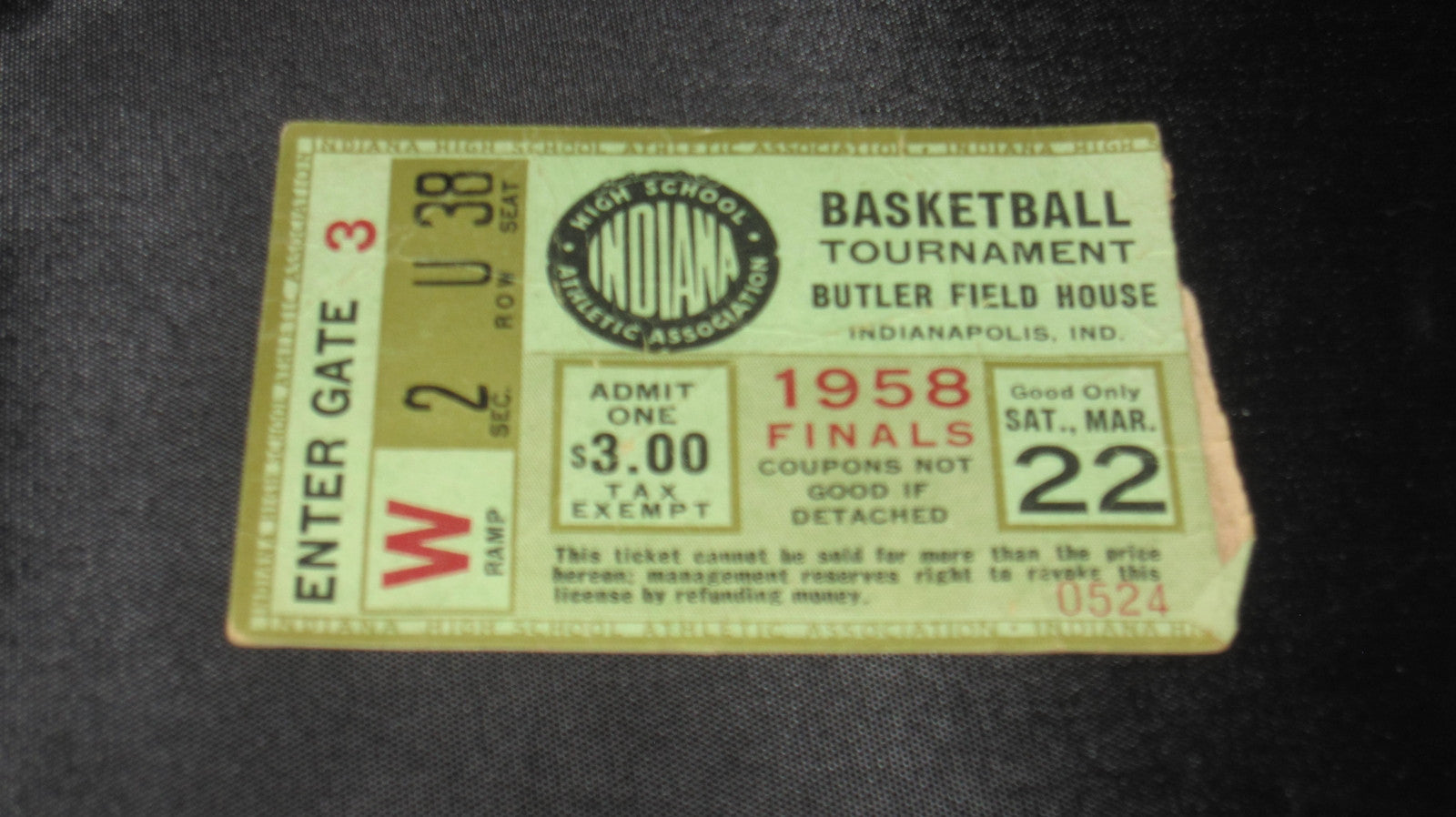 1958 Indiana High School Basketball State Finals Ticket Stub - Vintage Indy Sports