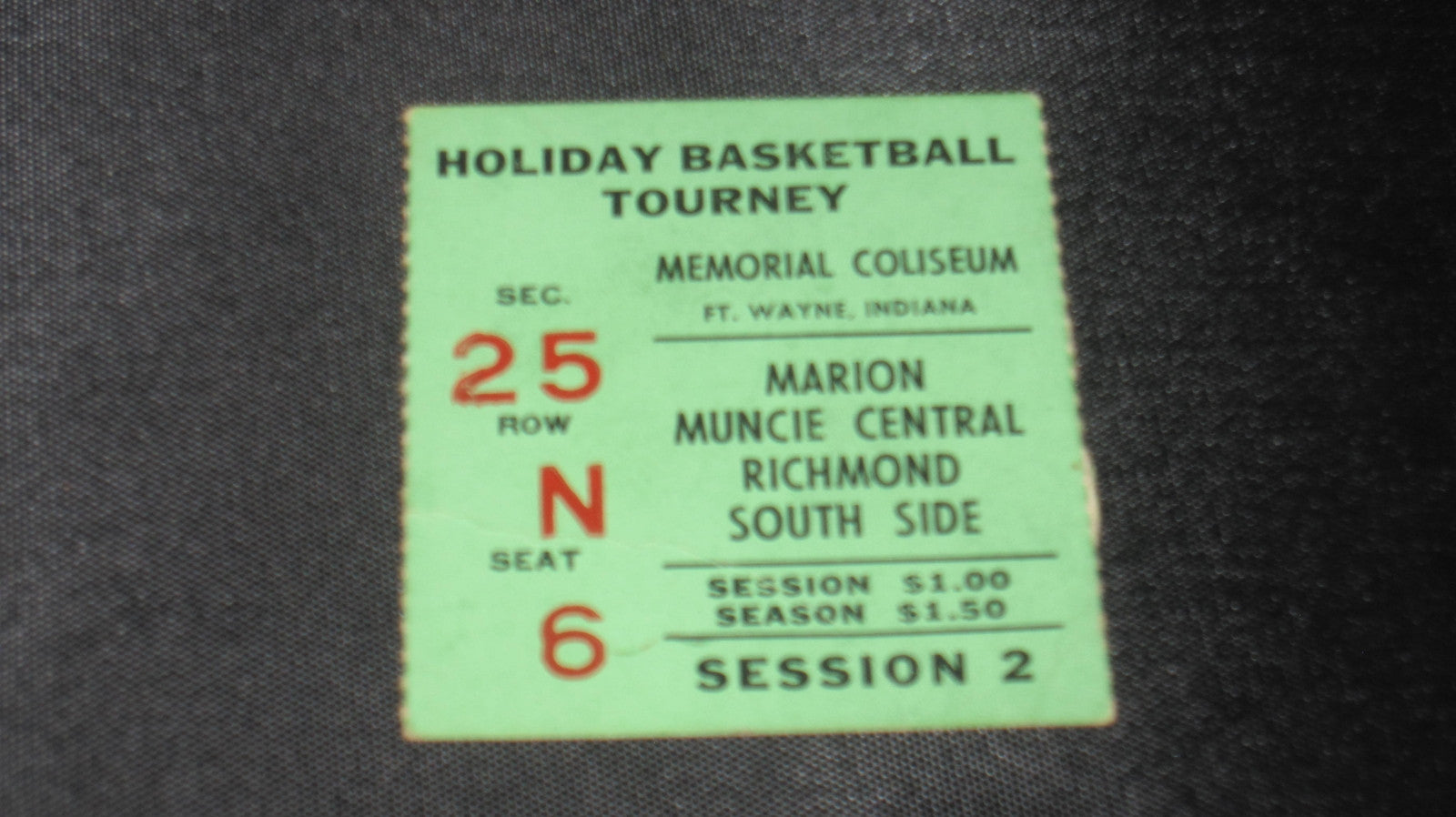 1956 Ft. Wayne Indiana High School Basketball Holiday Tournament Ticket Stub - Vintage Indy Sports