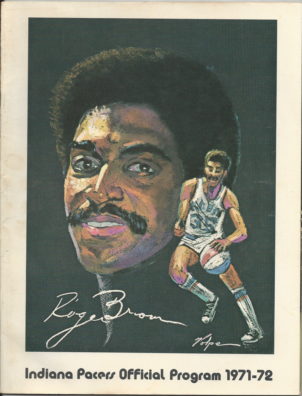 1971 Indiana Pacers vs Carolina Cougars ABA Basketball Program, Roger Brown Cover - Vintage Indy Sports