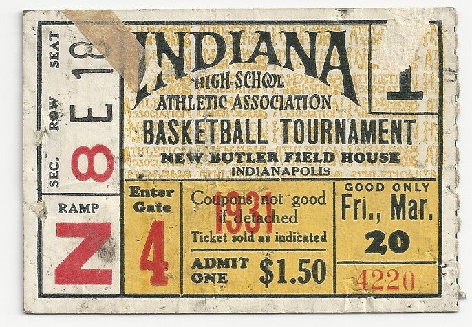 1931 Indiana High School Basketball State Finals Session 1 Ticket Stub - Vintage Indy Sports