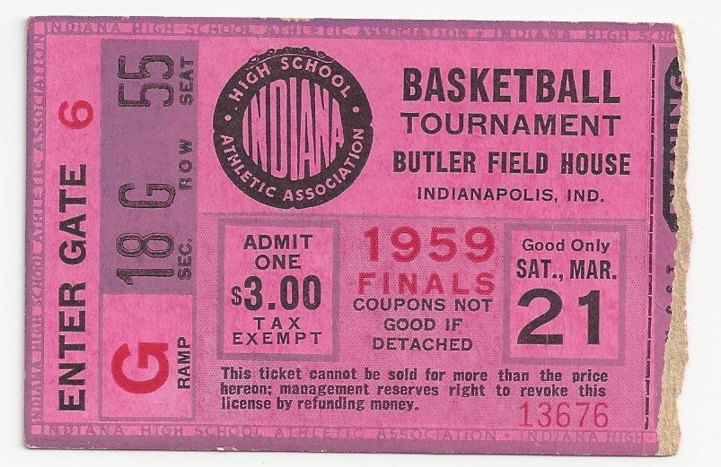 1959 Indiana High School Basketball State Finals Ticket Stub - Vintage Indy Sports