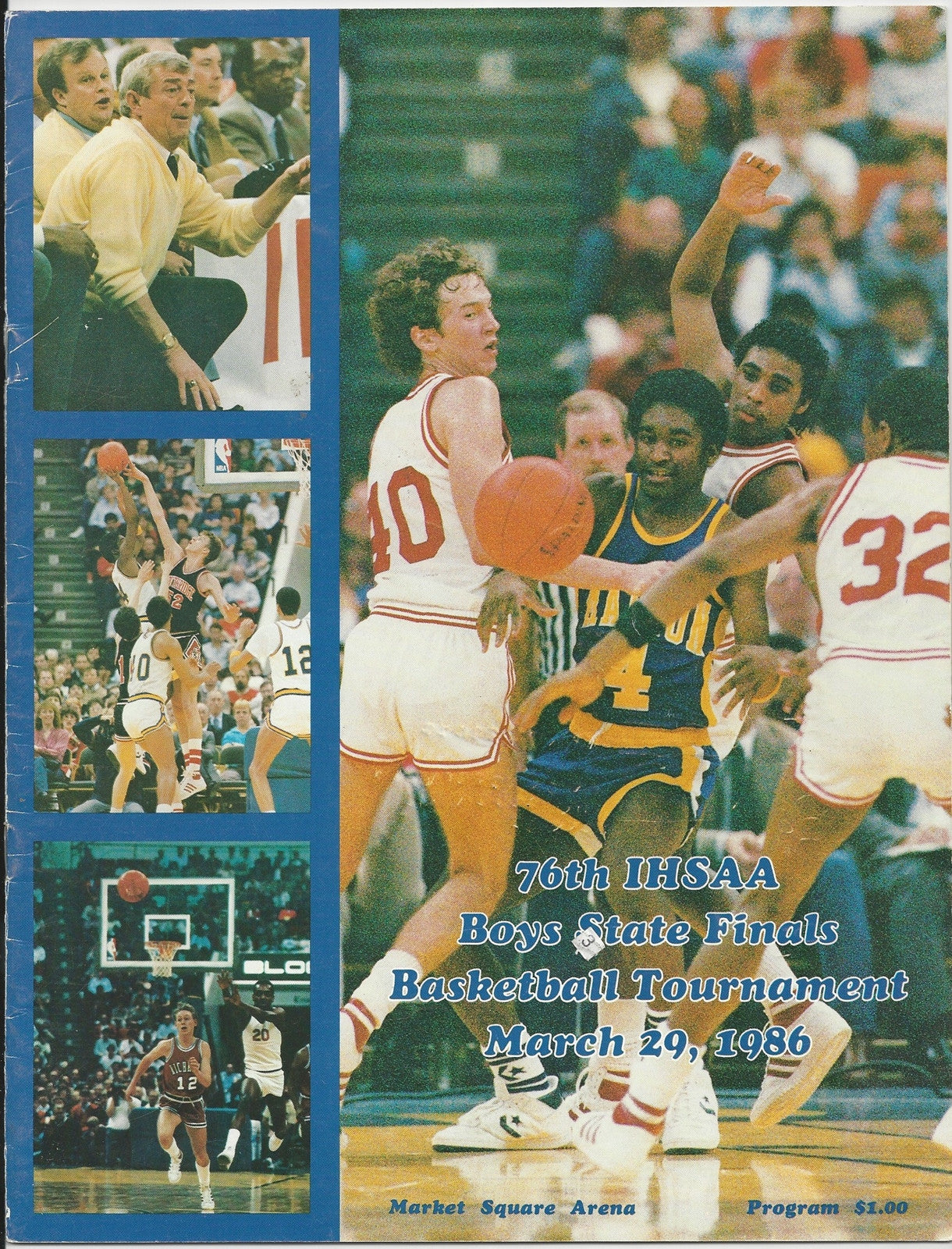 1986 Indiana High School Basketball State Finals Program - Vintage Indy Sports