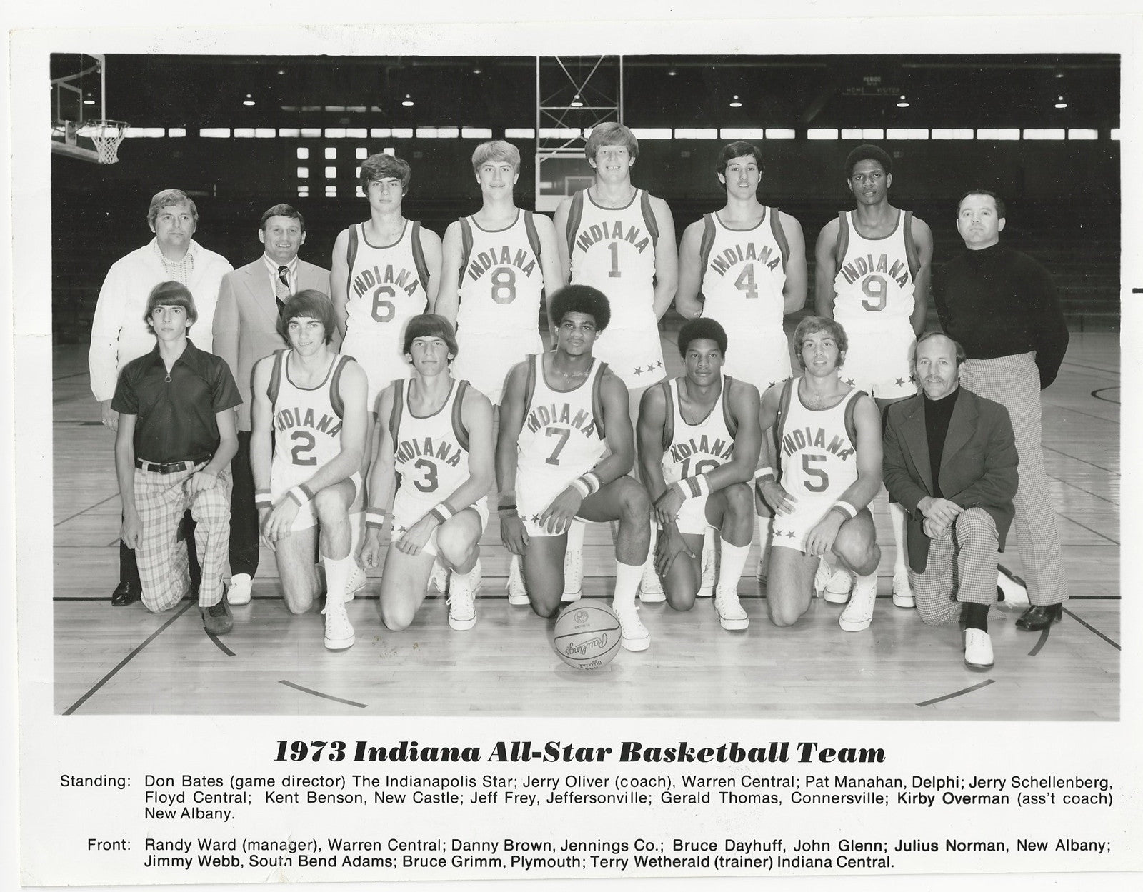 1973 Indiana High School Basketball Team 8x10 Photo, Kent Benson - Vintage Indy Sports
