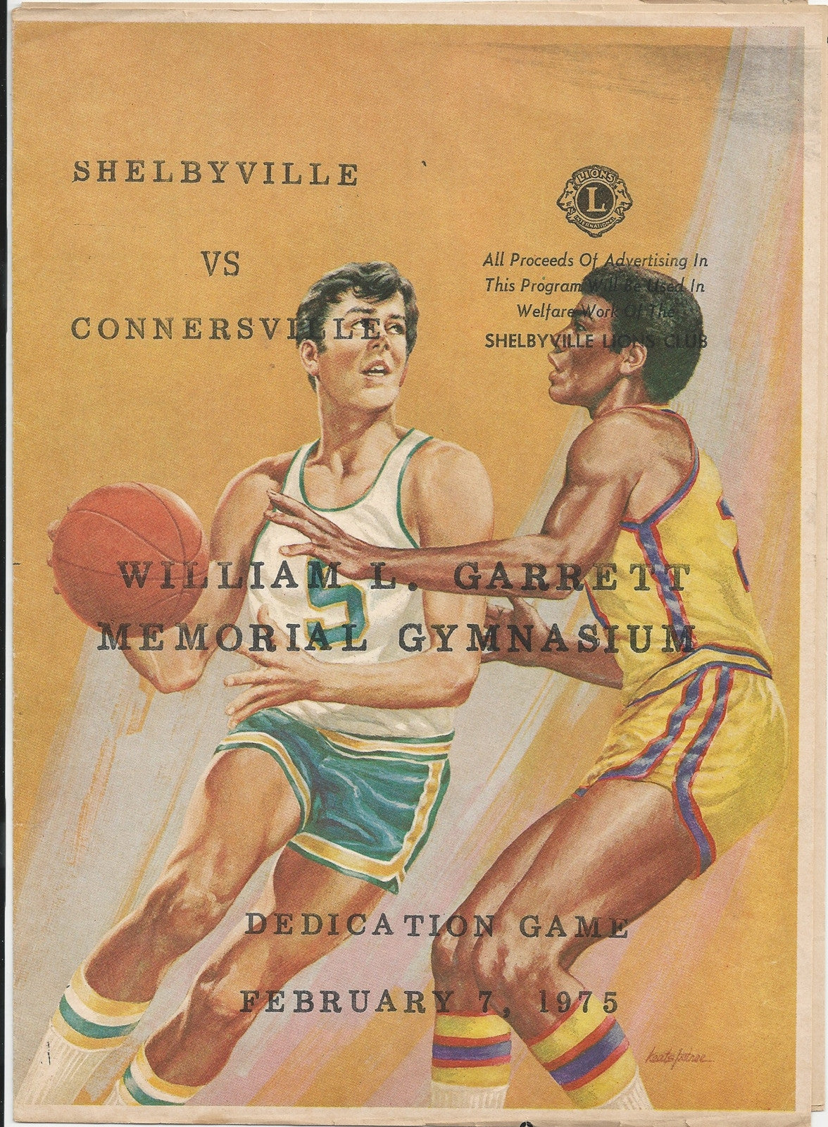 1975 Shelbyville vs Connersville Indiana High School Basketball Program, Gym Dedication - Vintage Indy Sports