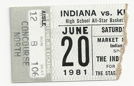 1981 Indiana vs Kentucky High School All Star Game Ticket Stub - Vintage Indy Sports