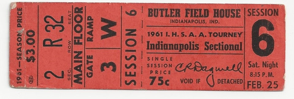1961 Indianapolis High School Basketball Sectional Ticket - Vintage Indy Sports