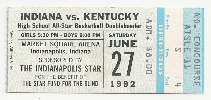 1992 Indiana vs Kentucky High School All Star Game Ticket Stub - Vintage Indy Sports