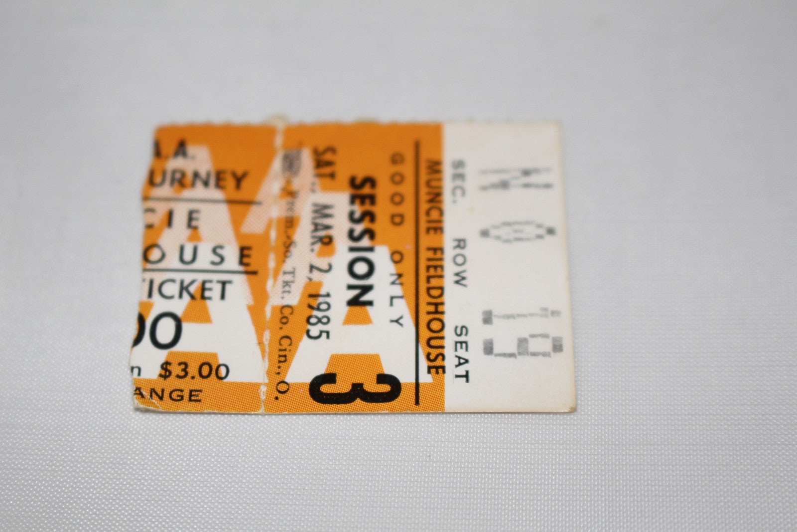 1985 Muncie Indiana High School Basketball Sectional Ticket Stub - Vintage Indy Sports
