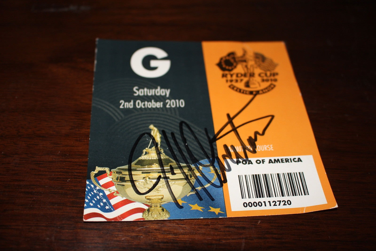 2010 Jeff Overton Autographed Ryder Cup Ticket - Vintage Indy Sports