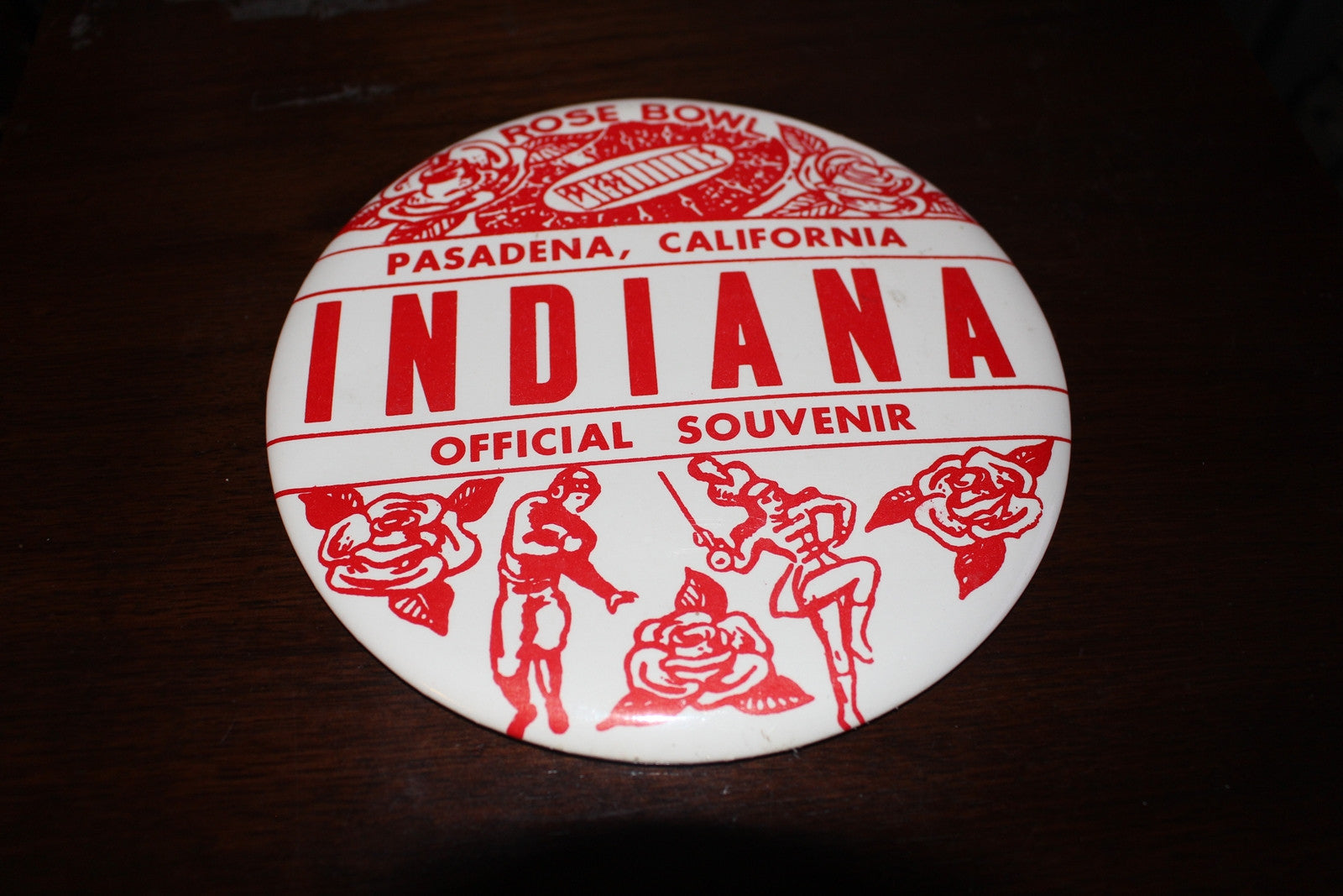 1968 Indiana University Football Rose Bowl 6 Inch Button - Vintage Indy Sports