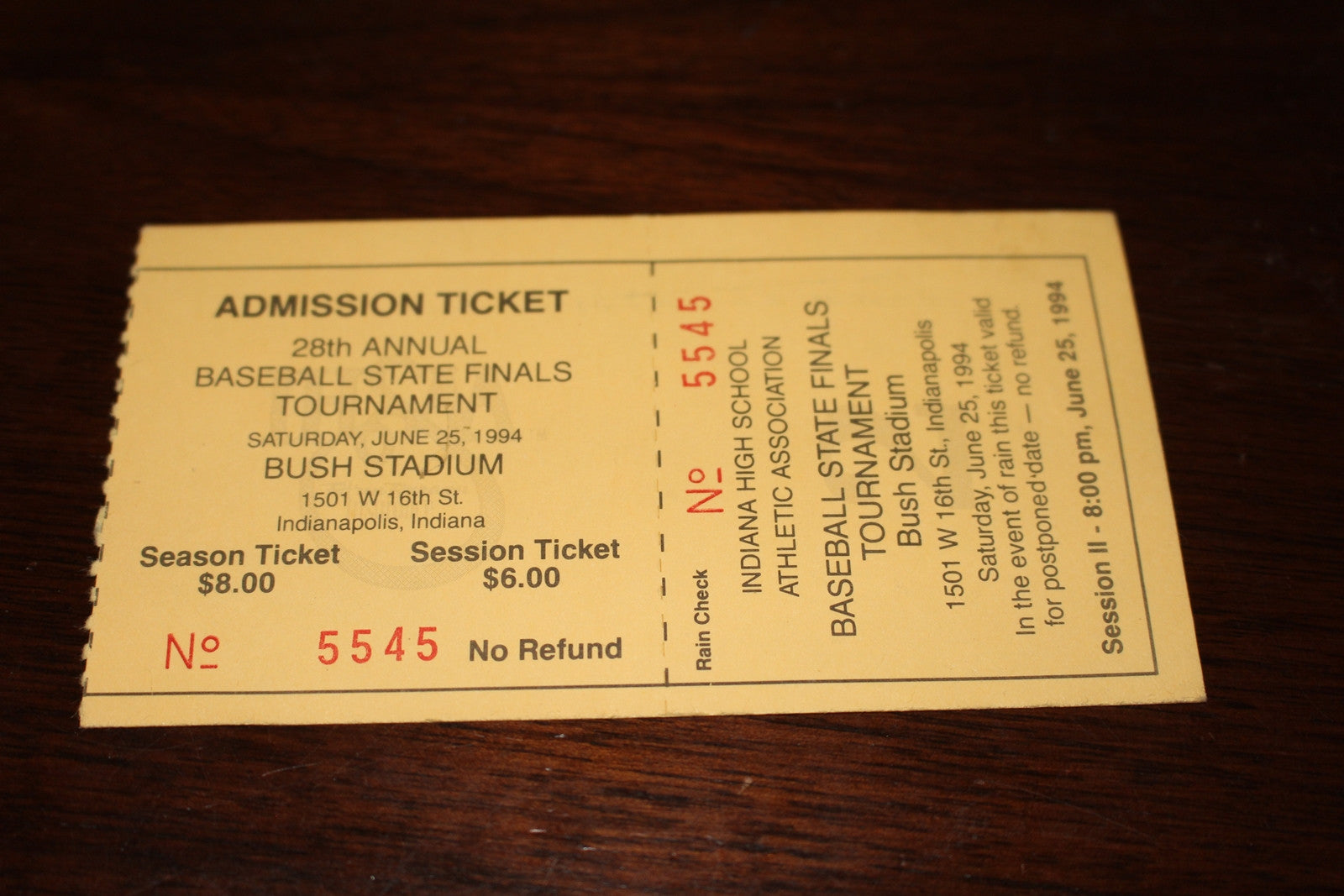 1994 Indiana High School Baseball State Finals Ticket Stub - Vintage Indy Sports