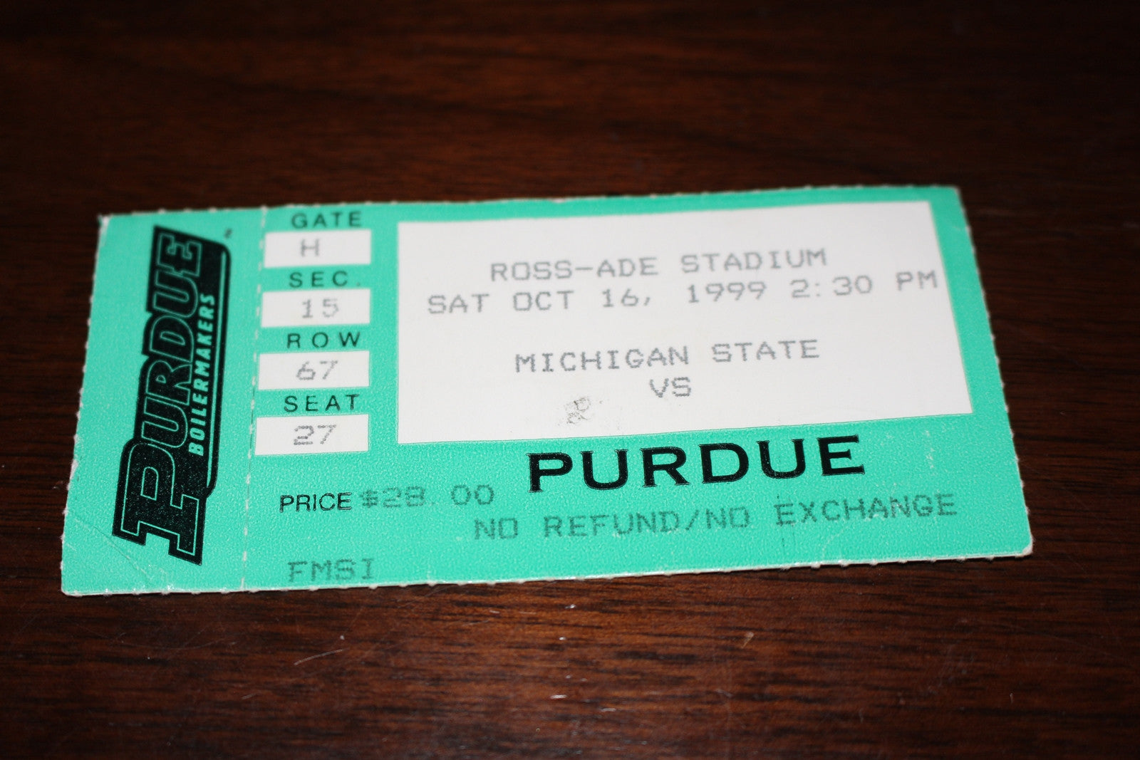 1999 Purdue vs Michigan State Football Ticket Stub - Vintage Indy Sports