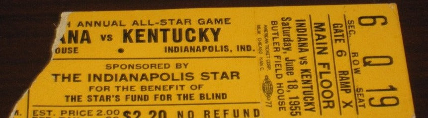 1955 Indiana vs Kentucky High School All Star Game Ticket Stub - Vintage Indy Sports