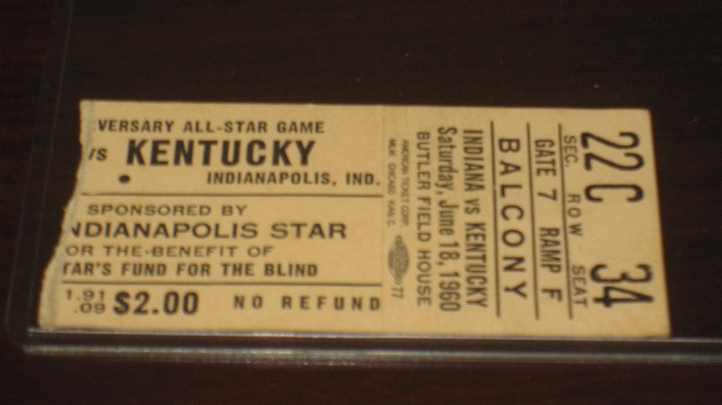 1960 Indiana vs Kentucky High School All Star Game Ticket Stub - Vintage Indy Sports