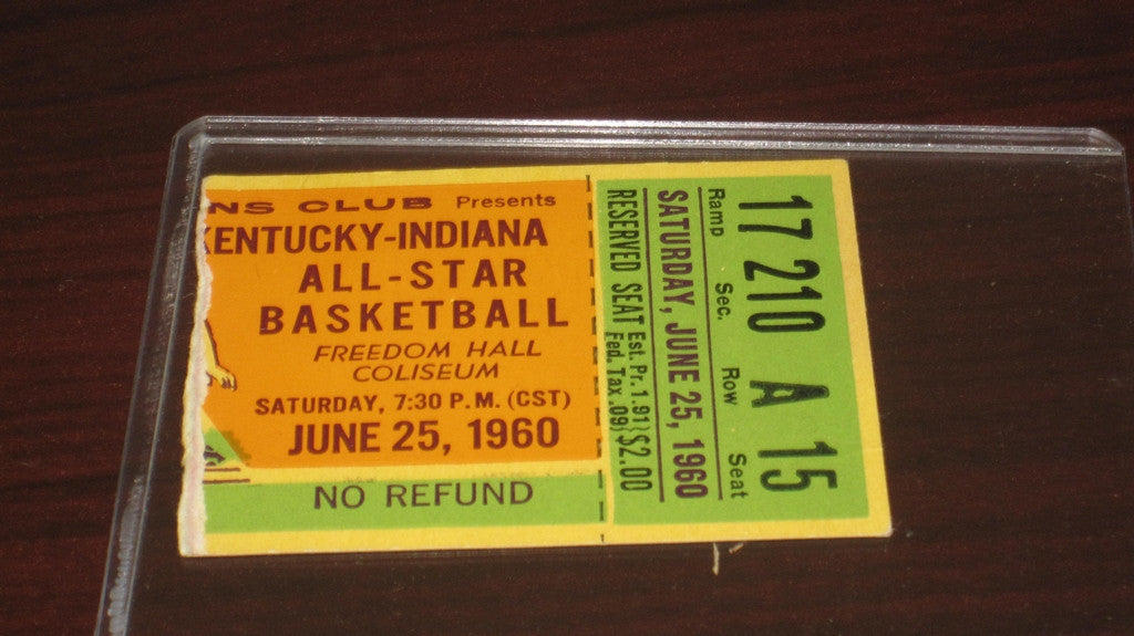 1960 Kentucky vs Indiana High School Basketball All Star Game Ticket Stub - Vintage Indy Sports