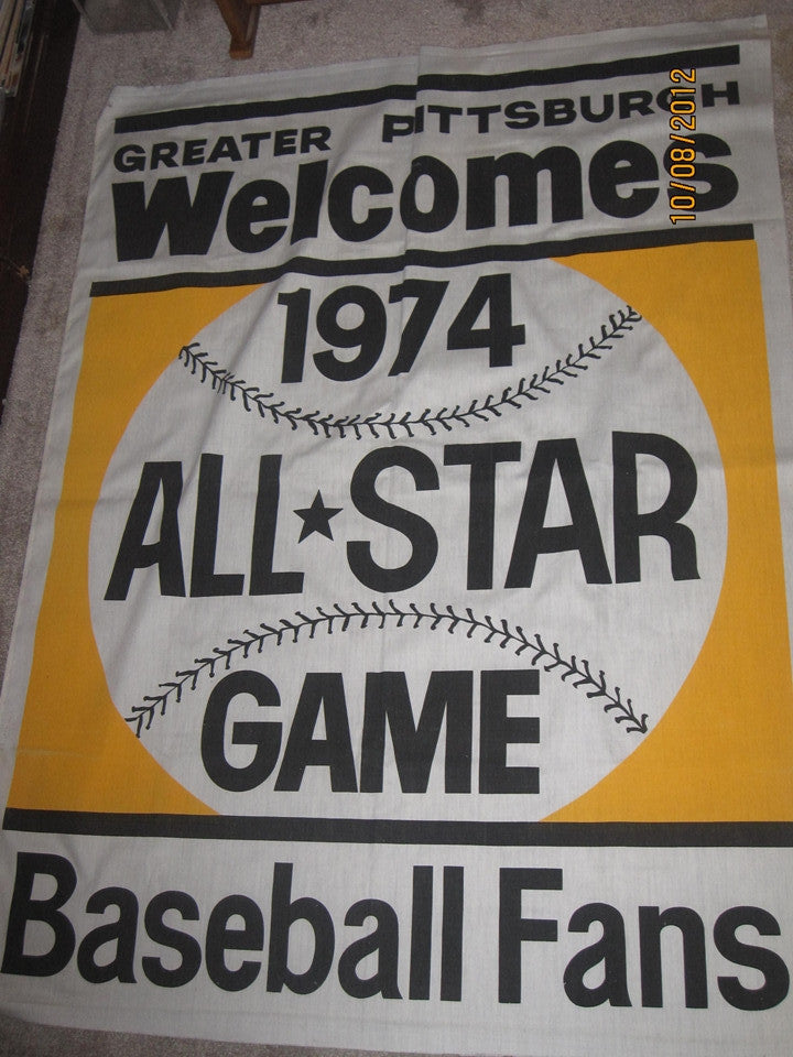 1974 Major League Baseball All Star Game Banner Pittsburgh - Vintage Indy Sports