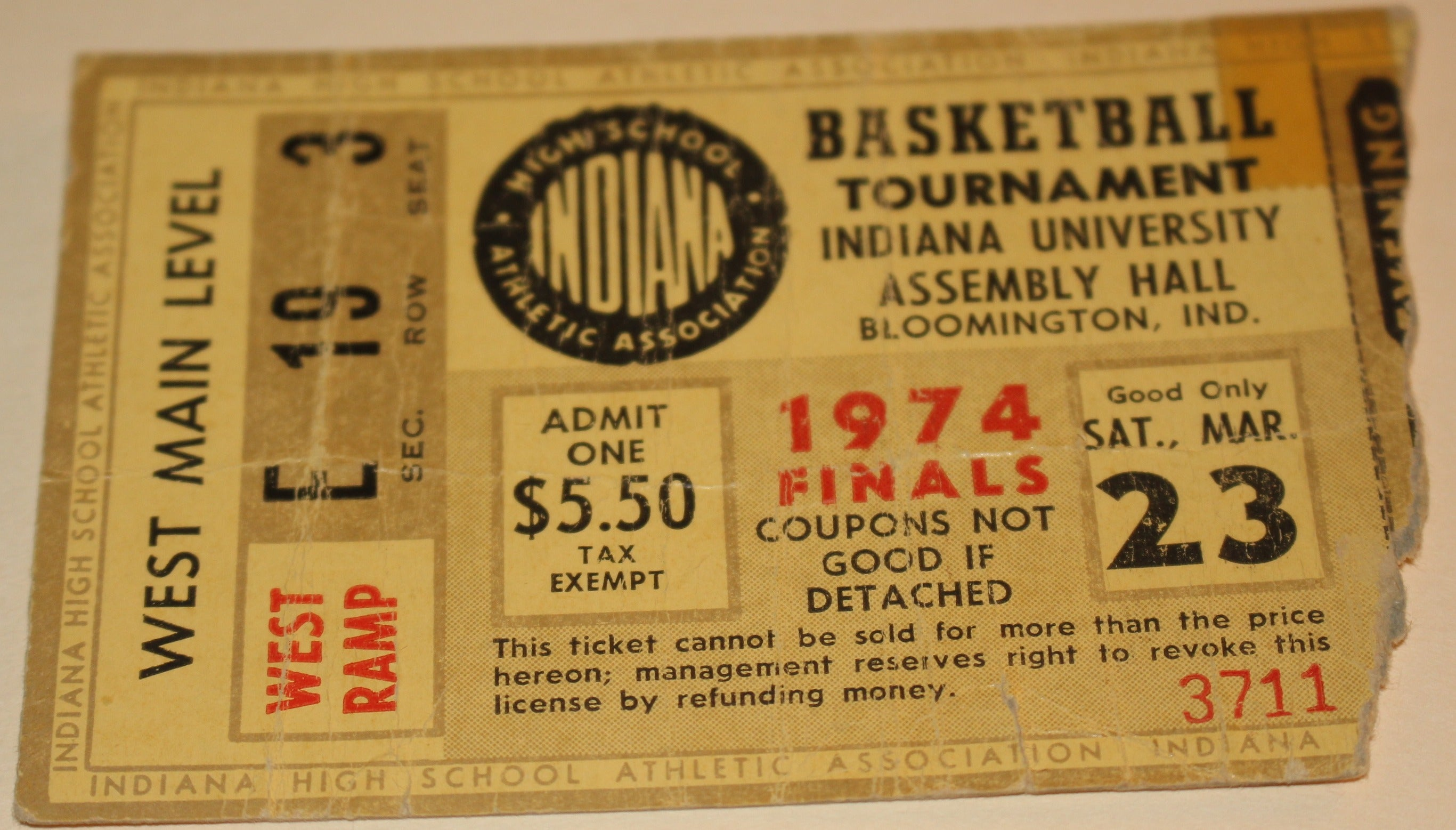 1974 Indiana High School Basketball State Finals Ticket Stub, FW Northrop Champs