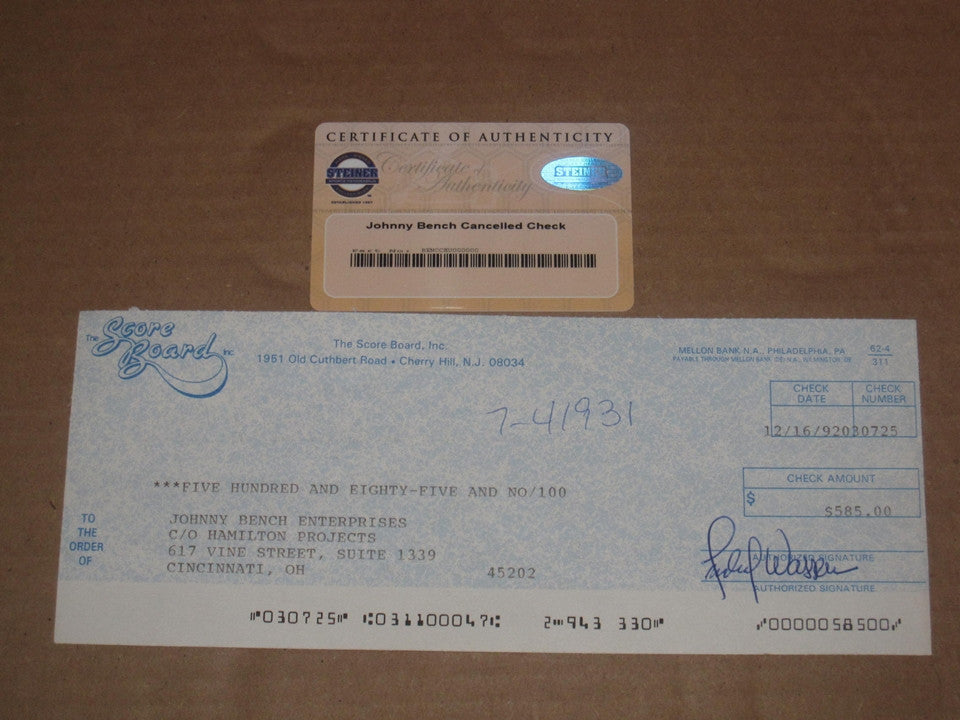 Johnny Bench 1992 Cancelled Check, Steiner COA - Vintage Indy Sports