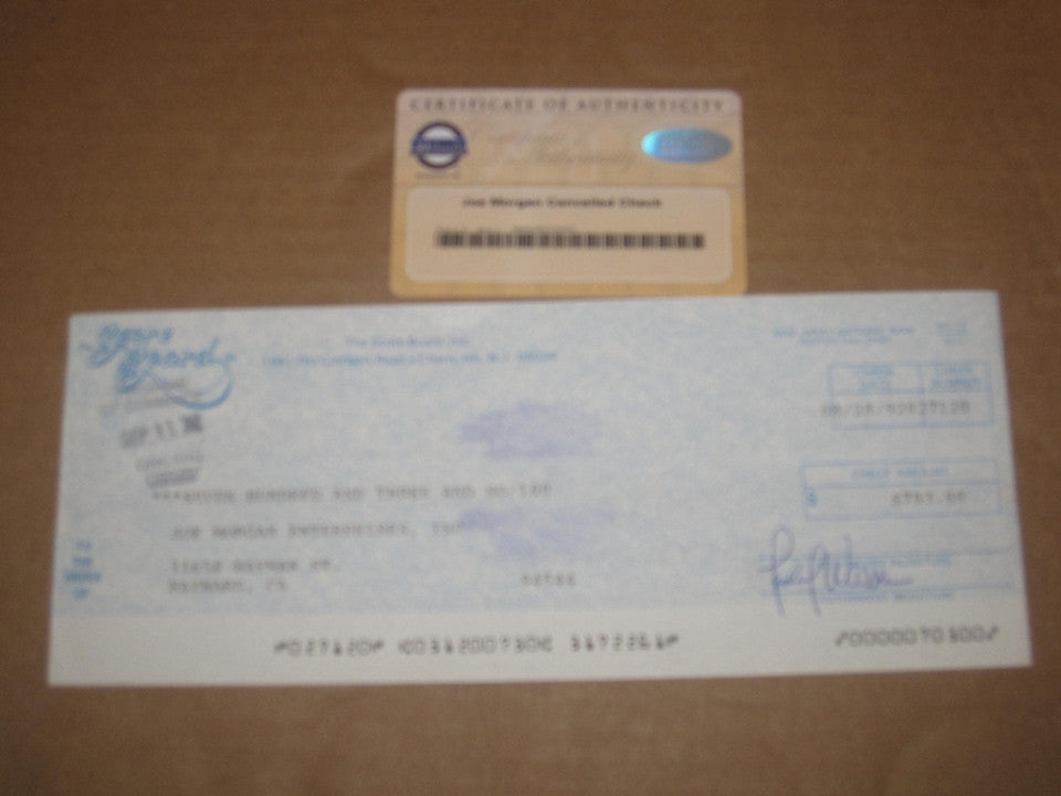 Joe Morgan Cancelled 1992 Check, Steiner Sports COA - Vintage Indy Sports