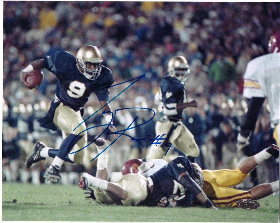 Tony Rice Notre Dame Vs. USC Autographed 8x10 Photo, Steiner COA - Vintage Indy Sports