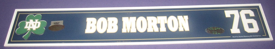 Bob Morton #76 Notre Dame Football Game Used Locker Tag - Vintage Indy Sports
