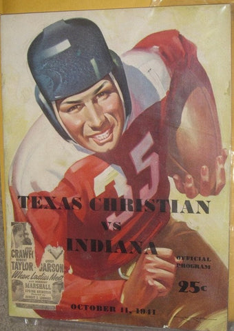 1941 TEXAS CHRISTIAN VS. INDIANA UNIVERSITY FOOTBALL PROGRAM