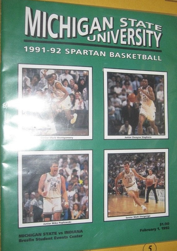 1991-92 INDIANA UNIVERSITY VS. MICHIGAN ST. BASKETBALL PROGRAM - Vintage Indy Sports