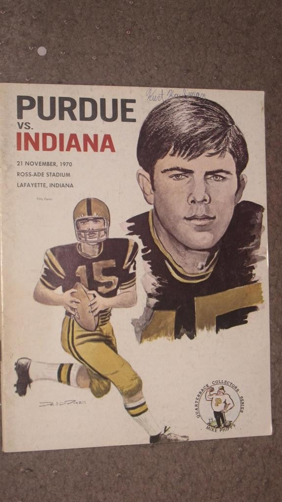 1970 PURDUE VS INDIANA UNIVERSITY FOOTBALL PROGRAM - Vintage Indy Sports