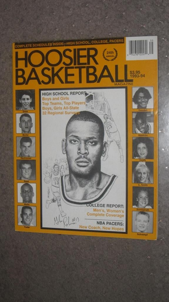 1993-94 HOOSIER BASKETBALL MAGAZINE, GLEN ROBINSON COVER - Vintage Indy Sports