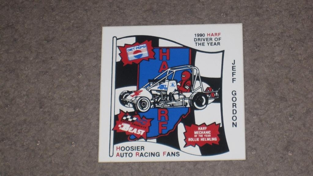 1990 JEFF GORDON HARF DRIVER OF YEAR DECAL - Vintage Indy Sports