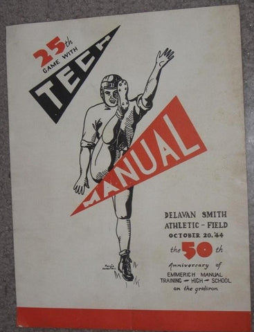 1944 INDIANAPOLIS TECH VS MANUAL H.S. FOOTBALL PROGRAM