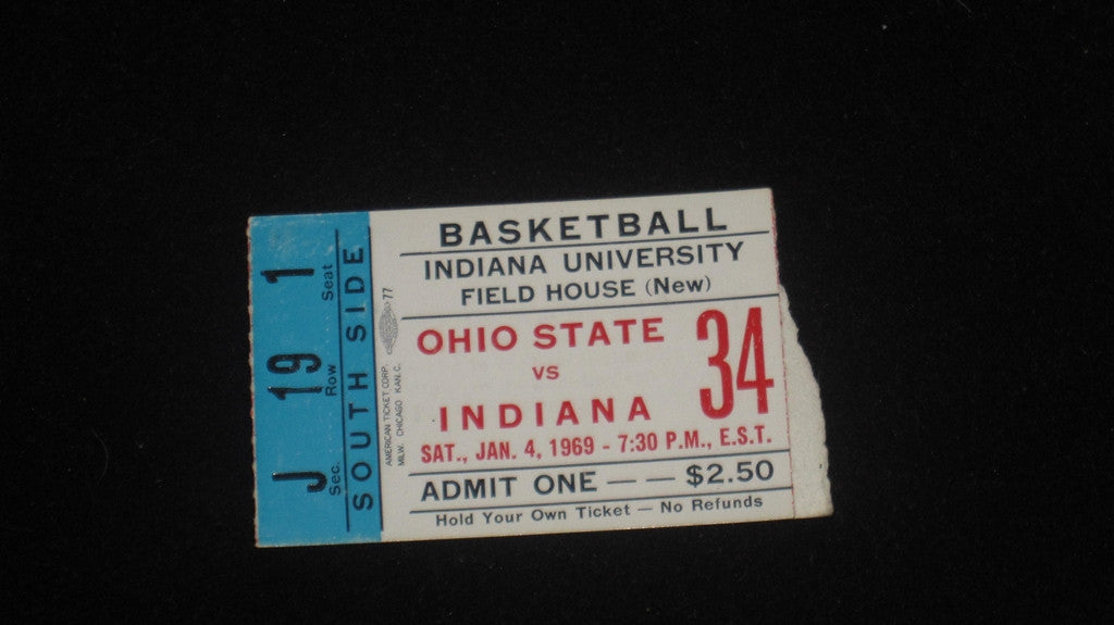 1969 OHIO STATE VS INDIANA BASKETBALL TICKET STUB - Vintage Indy Sports