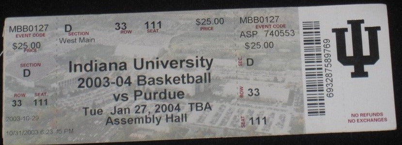 2004 INDIANA VS PURDUE BASKETBALL TICKET - Vintage Indy Sports