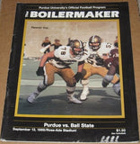 1986 PURDUE VS BALL STATE FOOTBALL PROGRAM - Vintage Indy Sports