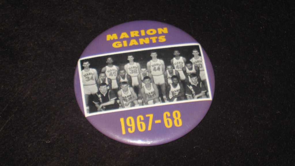 1967-68 MARION INDIANA H.S. BASKETBALL TEAM PINBACK BUTTON - Vintage Indy Sports