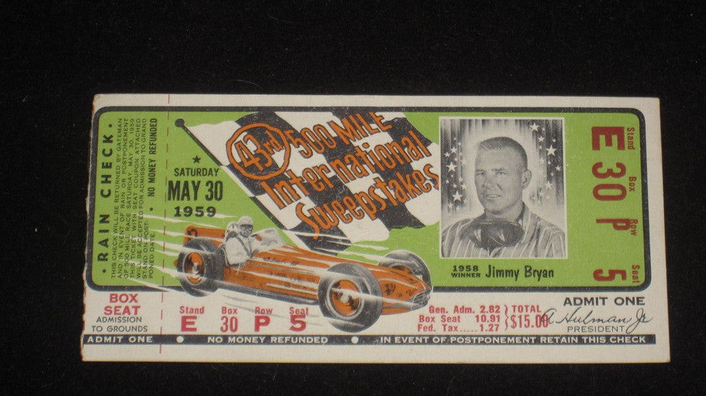 1959 Indianapolis 500 Ticket Stub - Vintage Indy Sports