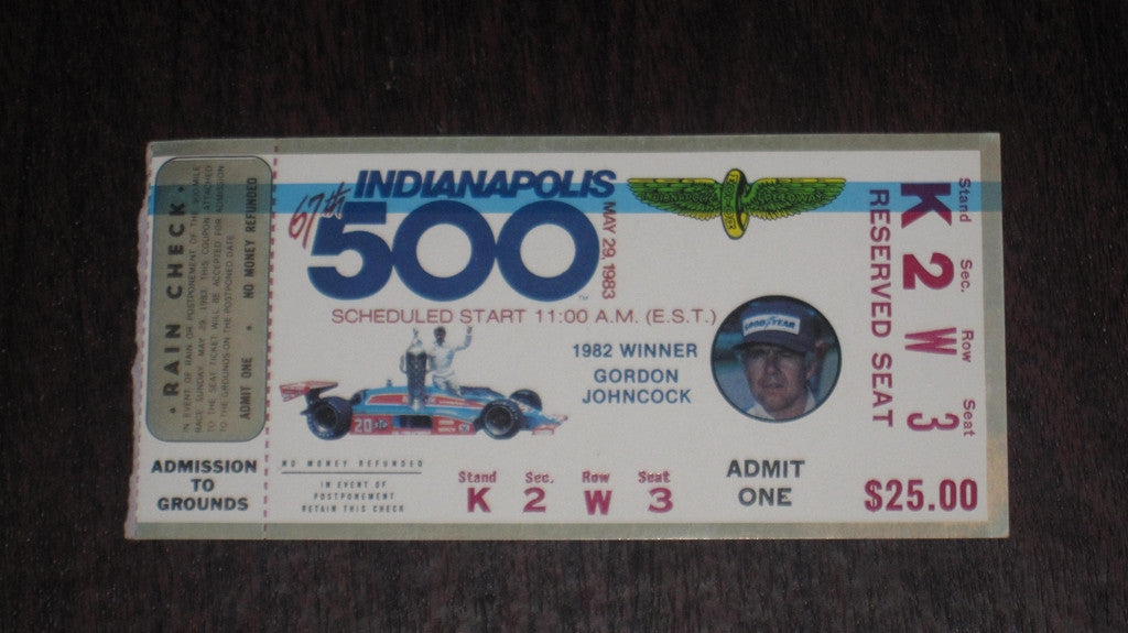 1983 Indianapolis 500 Ticket Stub - Vintage Indy Sports