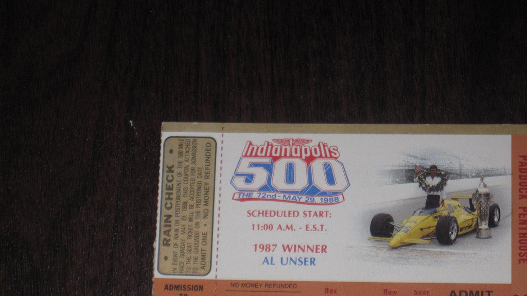 1988 Indianapolis 500 Ticket Stub - Vintage Indy Sports