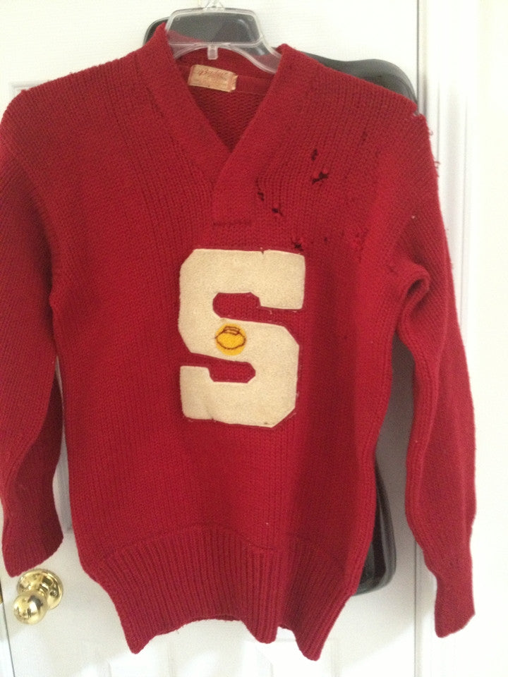 Vintage 1950's Southport High School Basketball Letter Wool Sweater - Vintage Indy Sports