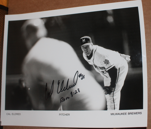 Cal Eldred Autographed Milwaukee Brewers Autographed Baseball Photo