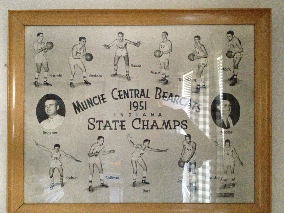 1951 Muncie Central State Champions 24x20 Original Framed Photo - Vintage Indy Sports
