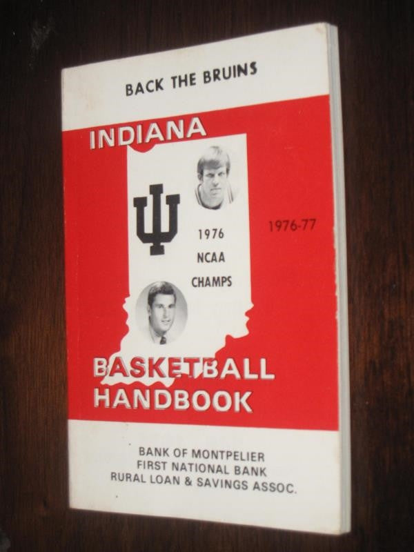 1976-77 Indiana Basketball Handbook, Bob Knight Cover - Vintage Indy Sports