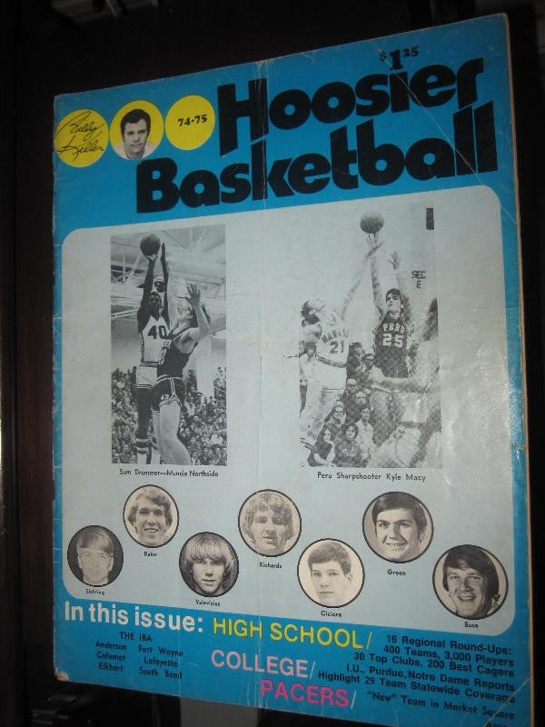 1974-75 Hoosier Basketball Magazine, Sam Drummer & Kyle Macy Cover - Vintage Indy Sports